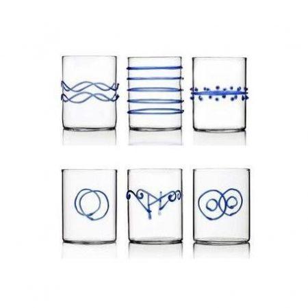 Set bicchieri Decò vetro trasparente e azzurro ichendorf