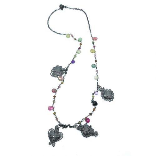 Collana con cuori sacri e pietre colorate