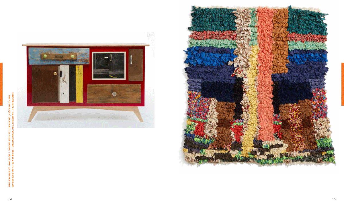 credenza artigianale con cassetti e sportelli rossa e tappeto in stoffa colorata marocco