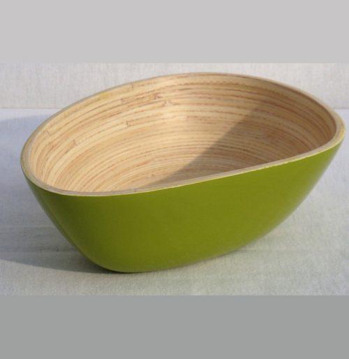 Insalatiera a forma di mango in bambù verde