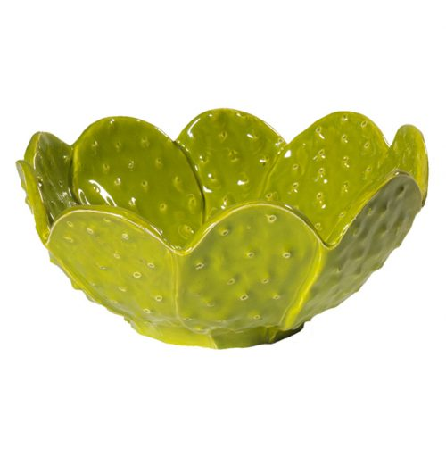 Insalatiera foglie di cactus verde lime linea Esotica Virginia Casa