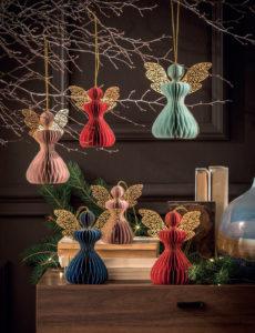 angioletti in carta colorati da appendere decorazioni natalizie