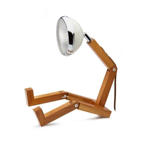 lampada Mr Wattson Piffany in legno di frassino per interni e faro Vespa 1946 bianco