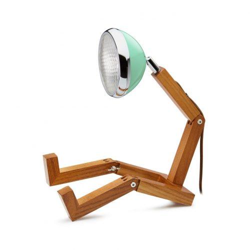 lampada Mr Wattson Piffany in legno di frassino per interni e faro Vespa 1946 verde acqua
