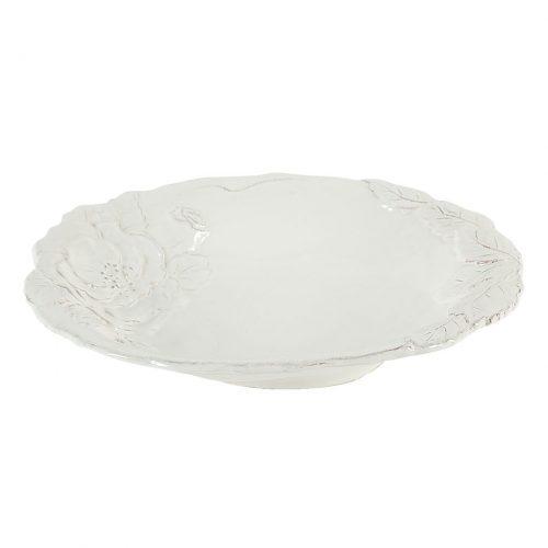 piatto fondo ceramica bianca con decori a rilievo virginia casa linea romantica