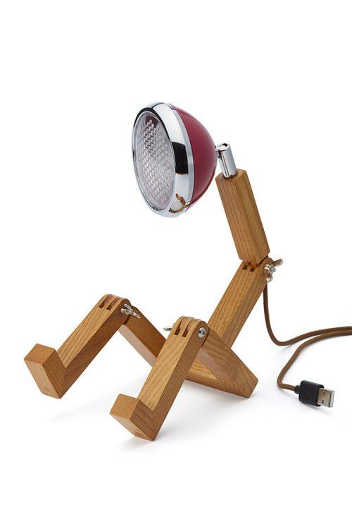 lampada MINI Mr Wattson Piffany in legno di frassino per interni e faro Vespa 1946 rosso