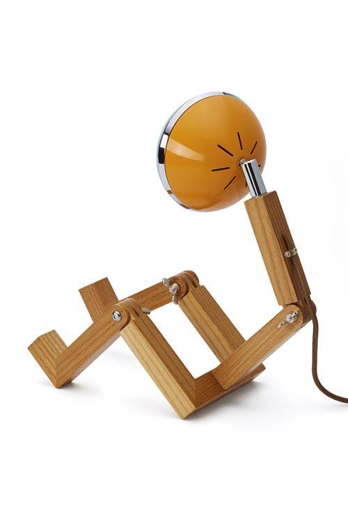 lampada MINI Mr Wattson Piffany in legno di frassino per interni e faro Vespa 1946 arancione