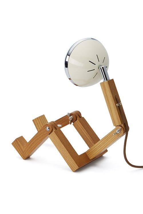 lampada MINI Mr Wattson Piffany in legno di frassino per interni e faro Vespa 1946 bianco vintage