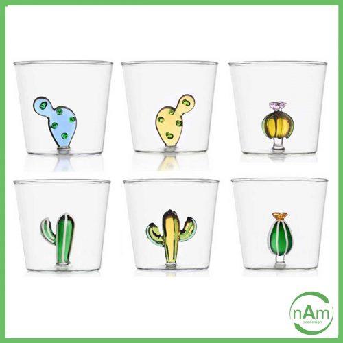set bicchieri ichendorf linea cactus in vetro trasparente e decori colorati 3D