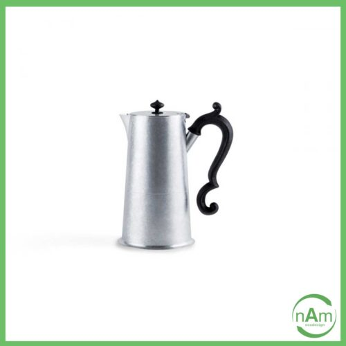 caffettiera in alluminio KnIndustrie con manico bachelite retro