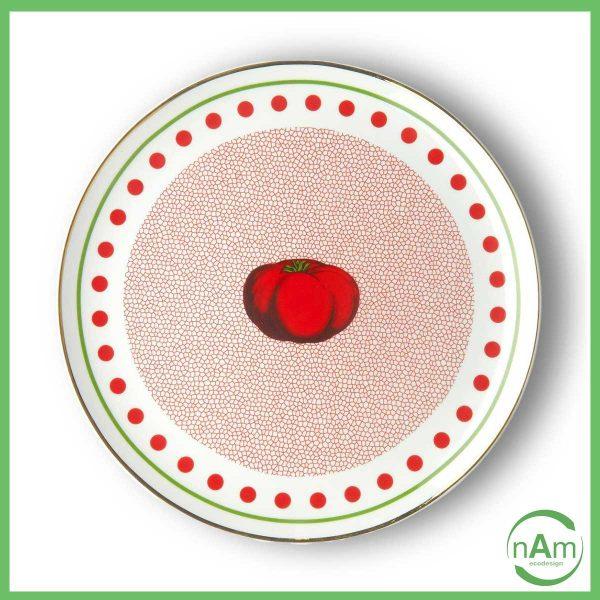 Piato colorato verde e rosso pomodoro al centro Bitossi Home