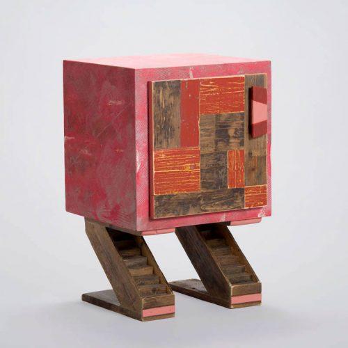 piccolo mobile contenitore legno e resina rosso