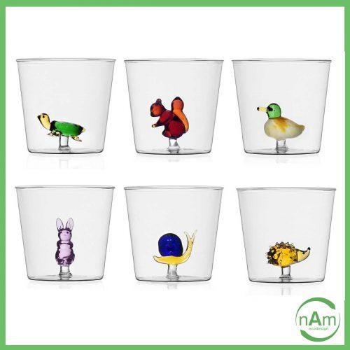 bicchieri ichendorf animal farm vetro colorato con animali dentro