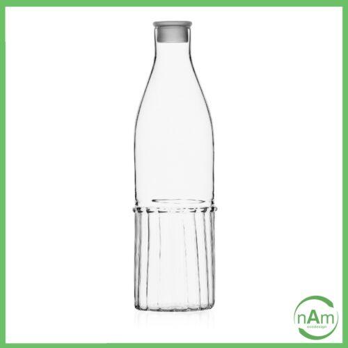 bottiglia in vetro trasparente con tapo collezione Transit di Ichendorf Milano